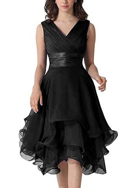 Review Lusiisss Women's Chiffon Sleeveless Ruched Short Bridesmaid Prom Dresses Gowns