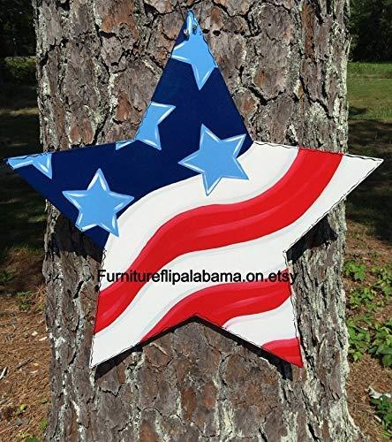 Funlaugh 4Th of July Door Hanger Star Door Hanger Flag Door Hanger Patriotic Door Hanger Flag Door Decormemorial Day Decor Wood Sign Plaque Home Wall Art Decoration Sign Gift