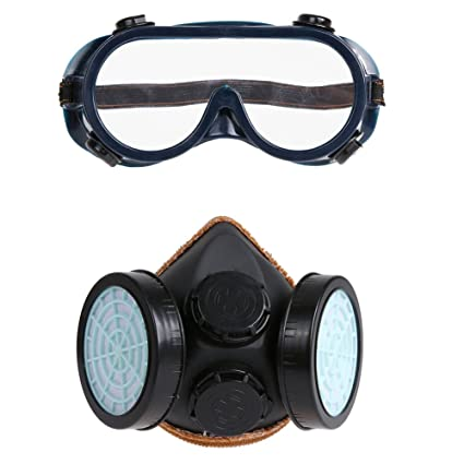 demiawaking 2stücke Protección Seguridad Doble Reservorio filtro Mascarilla Anti Polvo Máscara Facial