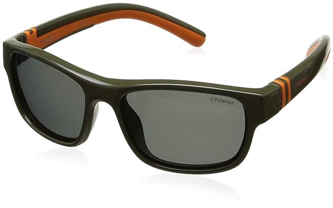 Polaroid Unisex-Kinder PLD 8003/S Y2 T12 52 Sonnenbrille, Grün (Dark Khaki/Grey Pz)