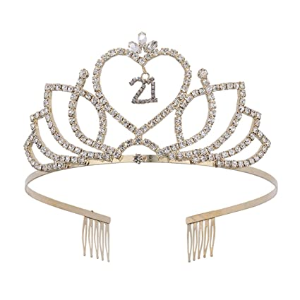 Amazon.com: Lurrose - Tiara de 21 cumpleaños con corona de ...