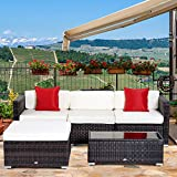 Outsunny 5pc Outdoor Modular Rattan Wicker Sofa Set Garden Sectional Patio Furniture with Table