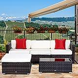 Outsunny 5PC Modular Rattan Sofa Set Outdoor Garden Wicker Sectional Patio Furniture
