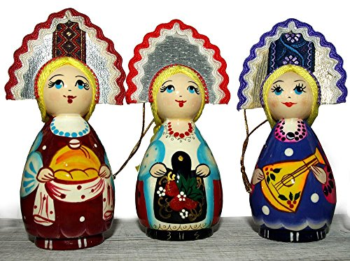Hand-painted Hanging Ornaments for Christmas trees - Russian Folk Doll in Traditional Folk Costume - Wooden Ethnic Gift - Folk Art (Build A Bear Stroller compare prices)