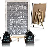 Black Felt Letter Board With Easel Stand 12 x 18 | 718 Changeable Characters Including 1 inch and ¾ Letters, Symbols, Emojis Hashtag + More | Hook To Hang | 2 Bags (Gray W/Antique Frame)