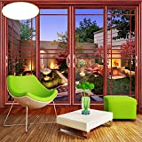 Lwcx Custom 3D Photo Wallpaper Sliding Door Villa Garden Mural Wallpaper For Living Room Lobby Home Decoration 400X280Cm