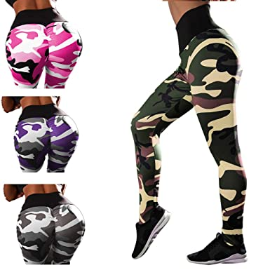 a112adab6793 Womens Ruched Butt Lifting Leggings Camo Print High Waisted Workout Sport  Tummy Control Gym Yoga Pants at Amazon Women s Clothing store