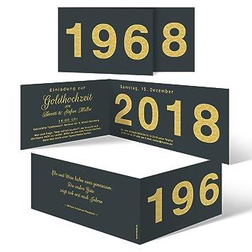60 X Hochzeitseinladungen Goldhochzeit Goldene Hochzeit Einladung Jahrzehnt Sprung