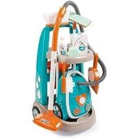 Smoby 330309 - Speelgoed Reinigingstrolley met Stofzuiger inclusief Geluid, Schep, Bezem, Wismop, Speelverpakking voor…