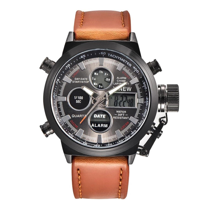 fullfun xinewメンズLEDステンレススチール腕時計 – バックライト、アラーム、防水、クロノグラフ、耐衝撃性、完了カレンダー、自動日付、LEDディスプレイ、Diver マルチカラー 1 B07B4913RX
