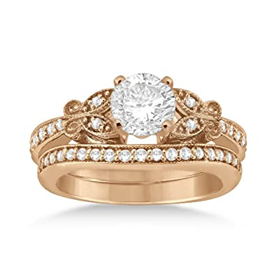 18k Gold Butterfly Engagement Ring and Wedding Band Bridal Set