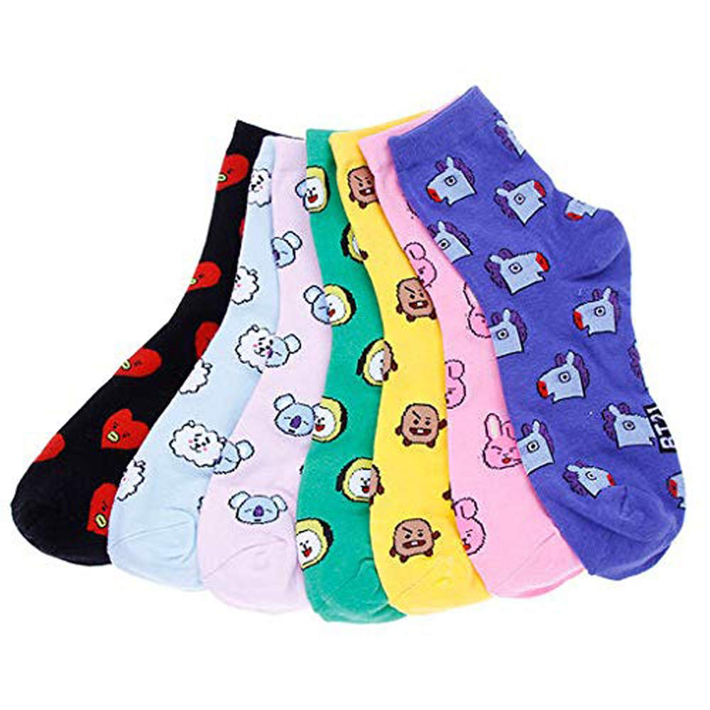 Womens BTS Socks Cute Funny Cotton Ladies Socks Kpop Character Design Casual Socks for ARMY Gift