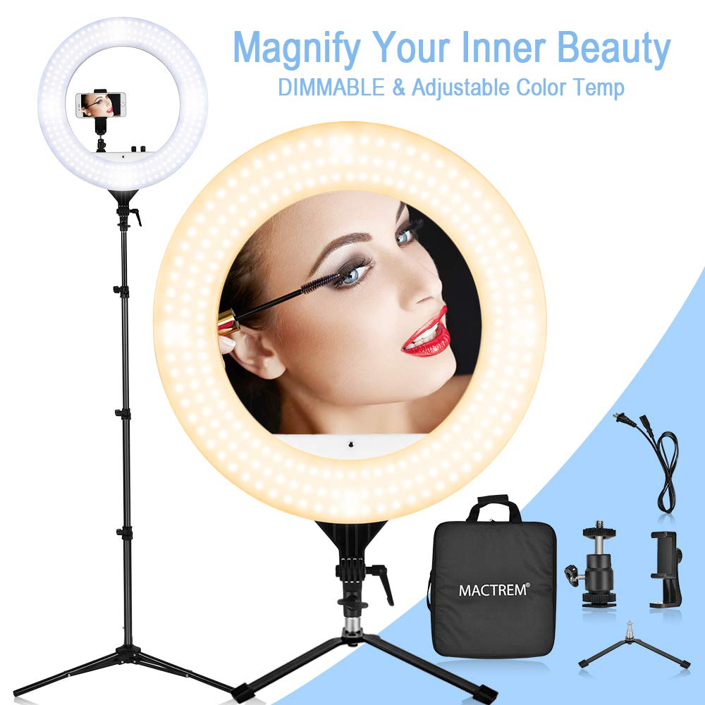 18'' LED Ring Light with Stand, Table Top Halo Light Ring, Live Video Lighting Kit Bi-Color Dimmable CRI 90+ Adjustable w/Phone Holder, Carrying Bag for Camera Camcorder Selfie YouTube Studio Makeup