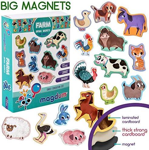 MAGDUM Bauernhof Tiere Set - echte GROßE Kühlschrank Magnete für Kleinkinder- magnetisches Theater Lernspielzeug – Spiele für 3 Jährige – Magnet Spiele für Kinder - Spielzeug Tiere - Magnet Set