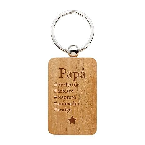 Gravado Llavero Rectangular para Padres Hashtag Madera Decoración