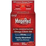 Megared 750mg 超浓缩Omega-3 磷虾油,不返鱼腥味,40粒软胶囊