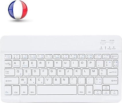 MINLIDAY Étui Clavier Bluetooth avec touchpad AZERTY pour