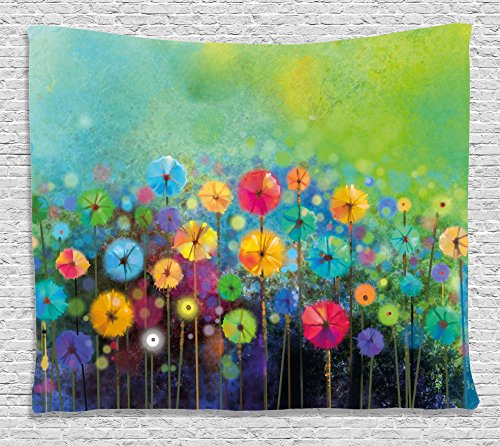 Ambesonne Watercolor Flower Home Decor Tapestry, Dandelions Featured Garden Made with Brushstrokes Toned Landscape, Wall Hanging for Bedroom Living Room Dorm, 60 W X 40 L inches, Multi from Ambesonne