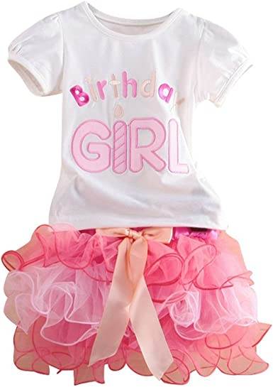 Le SSara De las niñas feliz cumpleaños bordado camiseta y falda en ...