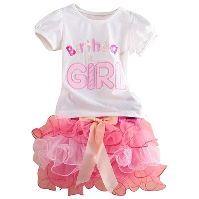Le SSara De las niñas feliz cumpleaños bordado camiseta y falda en capas de la torta