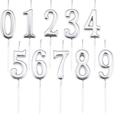 Maitys 10 Pieces Birthday Numeral Candles Glitter Cake Numeral Candles Number 0-9 Cake Topper Decoration for Birthday Party Supplies (Silver): Home & Kitchen