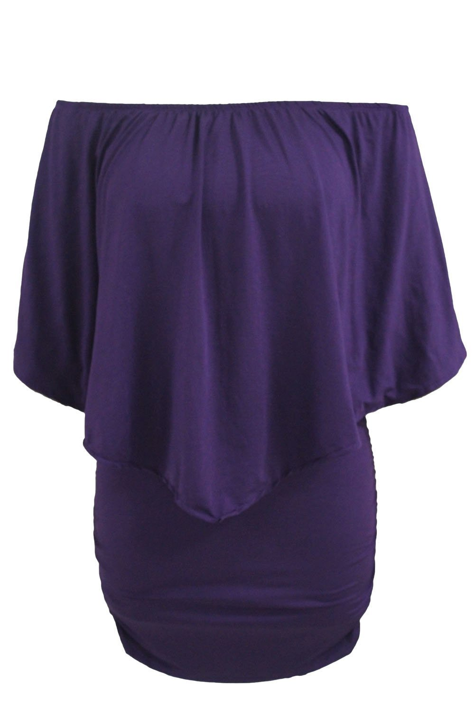 Women\'s Sexy Off Shoulder Ruffle Club Dress Purple L