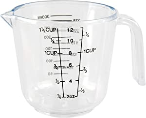 HOME-X Big Number Clear Plastic Measuring Cup with Handle and Pour Spout (1 1/2 Cups)