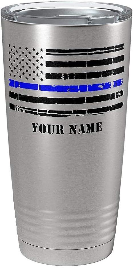 FREE SHIPPING 20 oz Curved \u201cProud Police Wife\u201d Flag Blue Confetti Glitter Tumbler