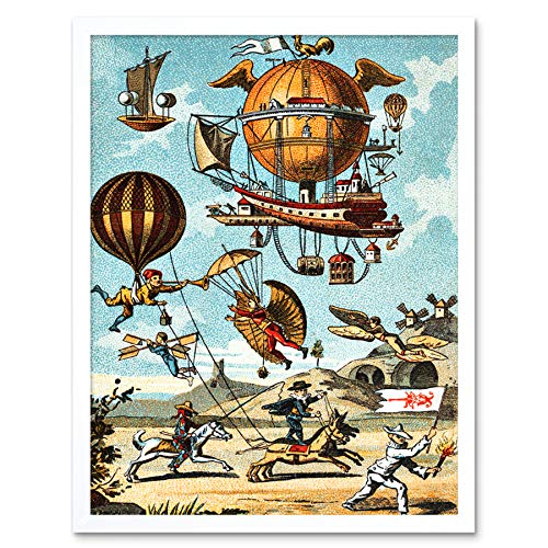 Romanet Early Balloon Flight Utopia Navigation 17th Century Art Print Framed Poster Wall Decor 12x16 inch