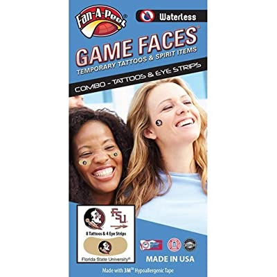 Florida State (FSU) Seminoles – Waterless Peel & Stick Temporary Tattoos – 12-Piece Combo - Eye Strips: Toys & Games
