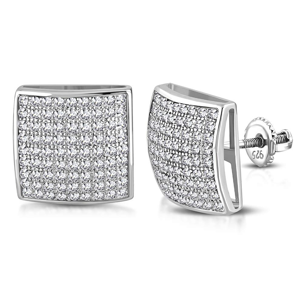 925 Sterling Silver Cushion Square White Clear CZ Screw-Back Stud Earrings