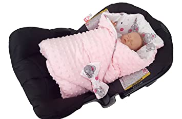 BlueberryShop Minky Reversible For CAR SEAT Swaddle Wrap Blanket Sleeping Bag Newborn Baby Shower GIFT