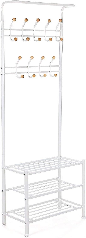 SONGMICS 187 cm High Metal Hall Tree, Entryway Organiser, Coat Stand with 3 Shelves, Cream HSR04W