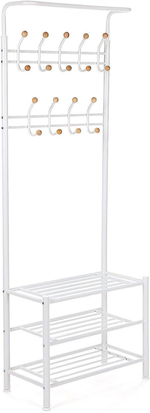 Oferta amazon: SONGMICS Perchero metálico con 3 estantes Colgador para la Ropa Bolsos Bufandas 68,8 x 35,2 x 187 cm Color Blanco Crema Carga máxima 70 kg HSR04W