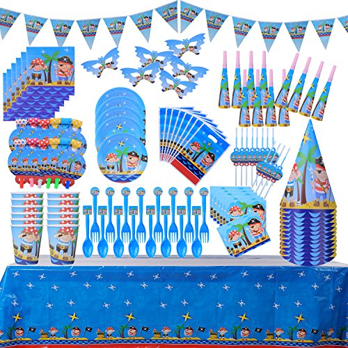 Food Related Costume Ideas (Children Party Decoration Supply Packs Pirate Theme(148 PCs) Cup;Spoon;Fork;Plate;Straw;Napkin;Eye Mask;Trumpet;Blowout;Hat;Invitation Card;Gift Bag;Tablecloth;Triangle Banner;(For 12 Guest))