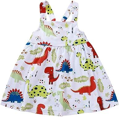 Toddler Baby Girl Dinosaur Dress Children Kids Sleeveless Summer Outfits Clothes