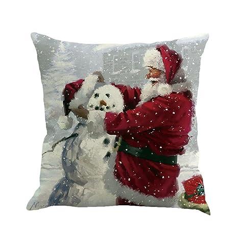 ZARU Impresión de Navidad Sofá Cama Cubierta de Almohadas Cojín decoración del hogar (O)