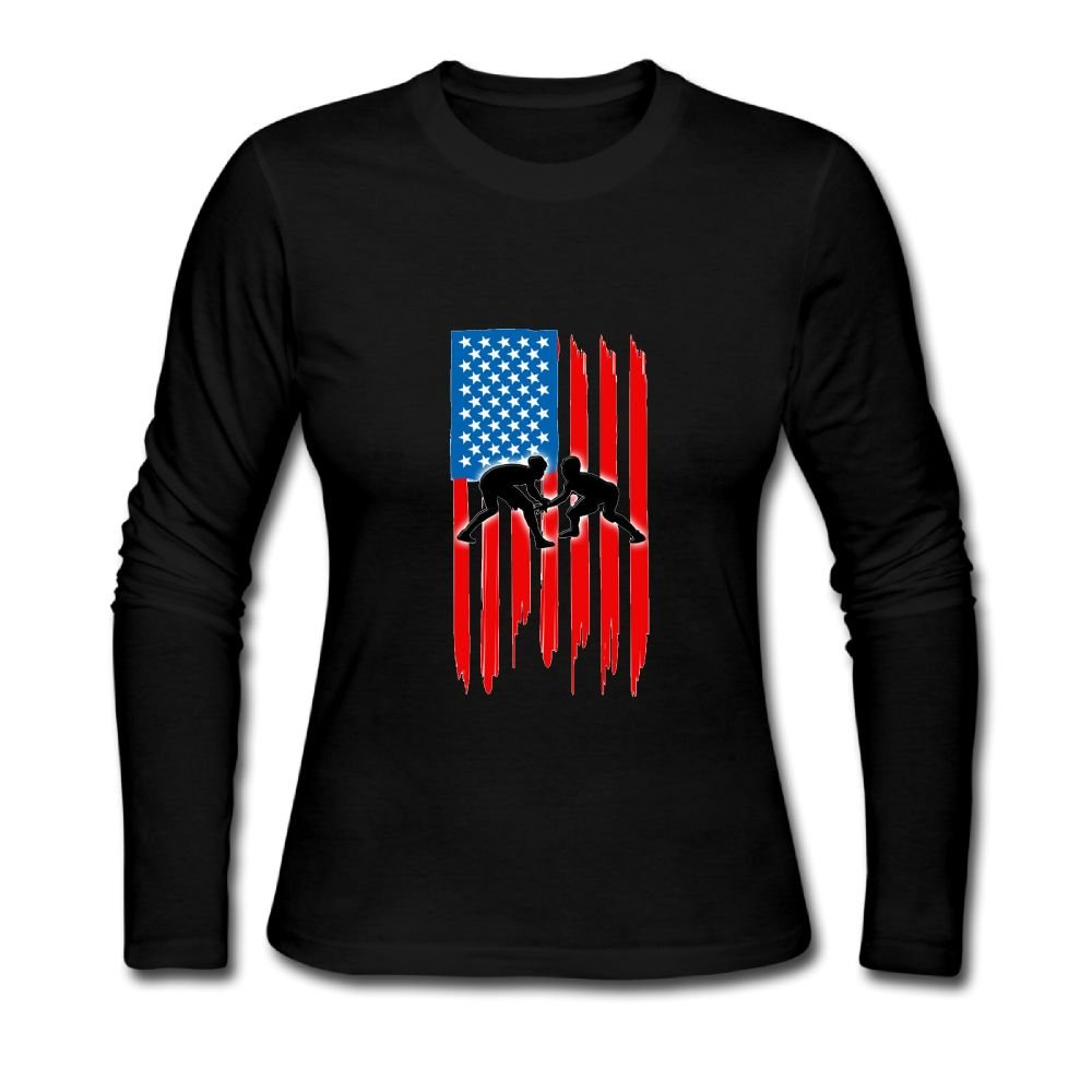 Dianqusha American Flag Wrestling Comfortable and Stylish Women's Long Sleeves.