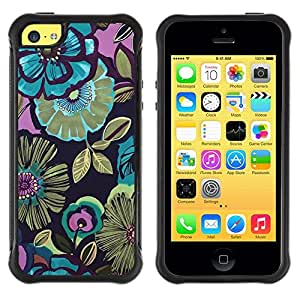 Suave TPU GEL Carcasa Funda Silicona Blando Estuche Caso de protección (para) Apple Iphone 5C / CECELL Phone case / / Flowers Blue Drawing Paint /