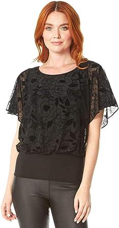 Roman Originals Bluson Top de blusa con estampado floral para mujer, elegante, informal, de gasa, manga corta, cuello redondo: Amazon.es: Ropa y accesorios