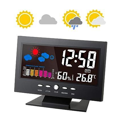 LCD MULTI FUNCTION DIGITAL WEATHER STATION ALARM CLOCK CALENDAR HYGROMETER TEMP