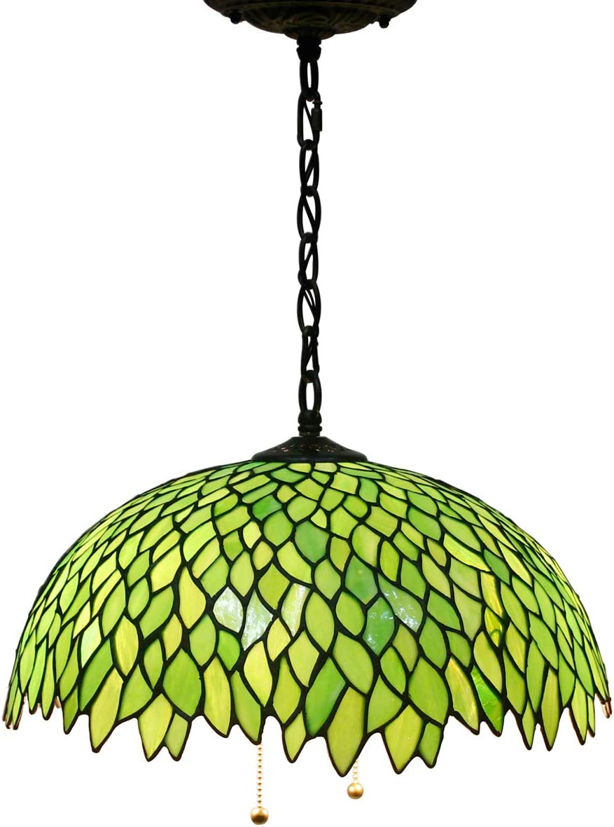 Tiffany Hanging Lamp 16 Inch Pull Chain Green Wisteria Stained Glass Lampshade Anqitue Chandelier Ceiling Style Pendant 2 Light Fixture for Dinner Room Living Room Bedroom S523 WERFACTORY