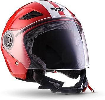 "Armor /· AV-63 /""Fun Red/"" 57-58cm /· Open Face Helmet /· Motorcycle Motorbike Jet Retro Pilot Scooter /· ECE certified /· Separate Visors /· Click-n-Secure Clip /· Carrier Bag /· M red"