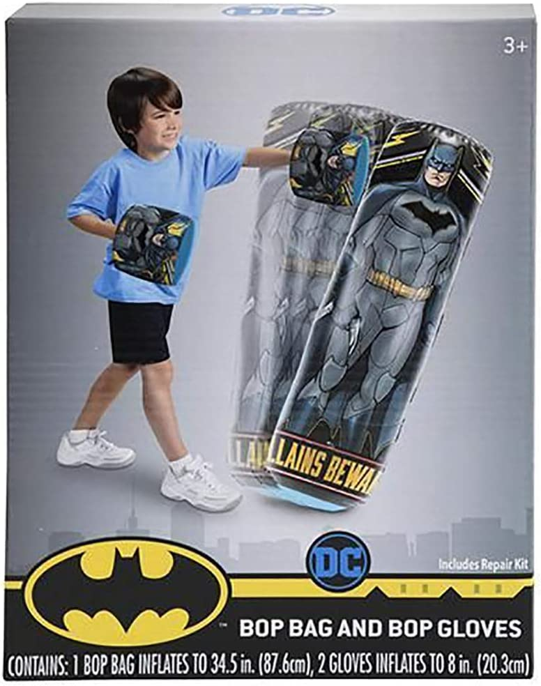 Fad Habit Licensed DC Comics Batman Inflatable Bop Bag and Bop Gloves Kids Punching Bag