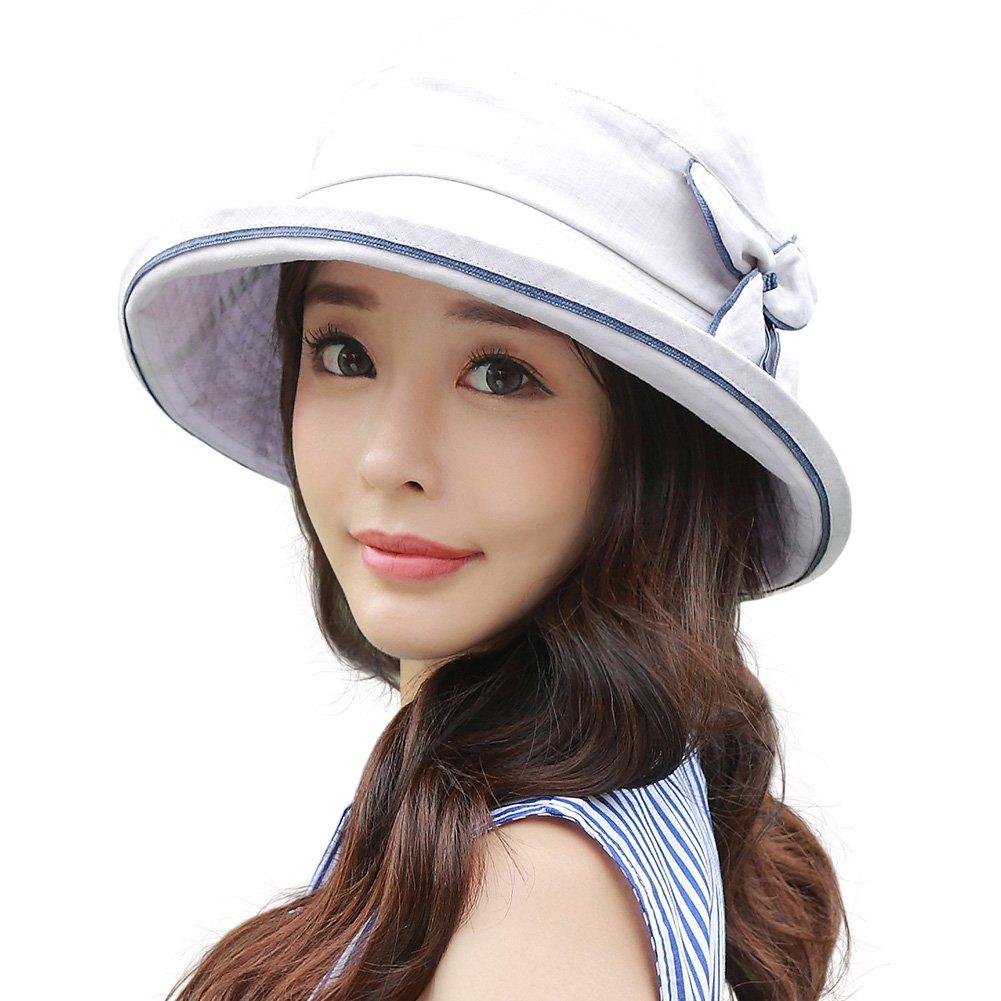 SIGGI Womens SPF50+ 100% Linen Summer Sun Bucket Packable Foldable Wide Brim Hats w/Chin Cord Gray