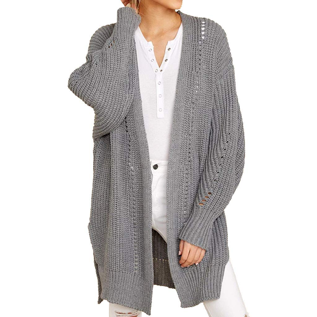 ZOMUSAR Autumn Winter Women Knitting Cardigan Sweater Long Sleeve Loose Knitted Ourwear Gray by ZOMUSAR