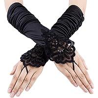 Cosanter Fingerlose Brauthandschuhe Satin Spitze Braut Handschuhe Spitze Hochzeit Satin Gloves f/ür Braut Abend Party Schwarz