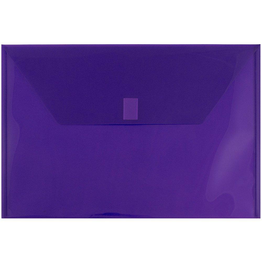 JAM PAPER Plastic Envelopes with Hook & Loop Closure - Legal Booklet - 9 3/4 x 14 1/2 - Purple - 12/Pack