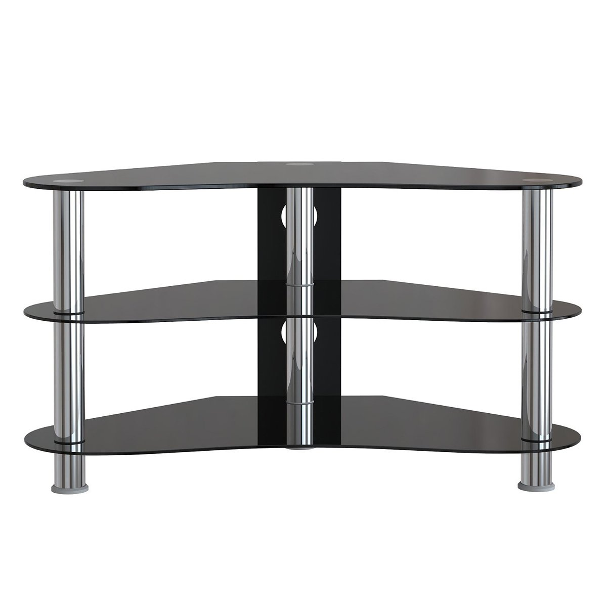 Amazing photo of Corner Tv Unit Stand Console Entertainment Unit Black Glass Brand New  with #60666B color and 1200x1200 pixels