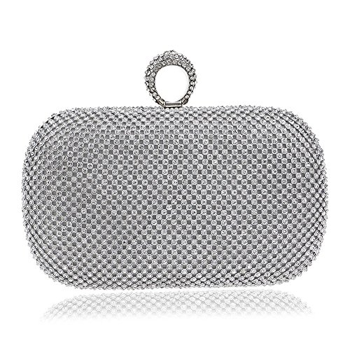 Color Clutch evening Silver Banquet Silver Evening Fly encrusted Diamond Bag Bag Luxury bag Evening Ladies 7vqzBv